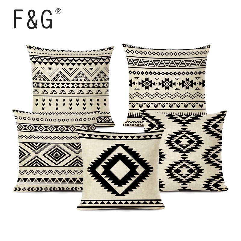 Retro High Quality ethnic Geometry Cushion <font><b>Cover</b></font> Throw Pillow Cutton Linen Car Sofa Bed <font><b>Home</b></font> Decor <font><b>Textile</b></font> Printed Pillowcase image