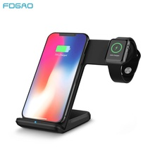 FDGAO 10W 2 in 1 Qi Wireless Charger For iPhone 11 X XS MAX XR Samsung S20 S10 Fast Charging Dock Stand For Apple Watch 5 4 3 2