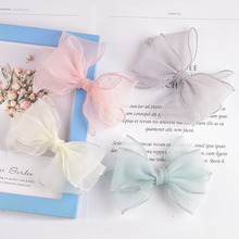 2021 New Hair Accessories Candy Color Bow Chiffon Duckbill Clip Cute Girl Hairpin Baby Girl Hair Accessories
