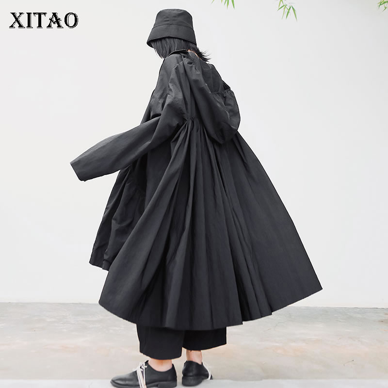 XITAO Plus Size Trench Women Fashion Pleated Wide Waist Hooded Collar Small Fresh Minority 2020 Spring Casual Coat DMY3218