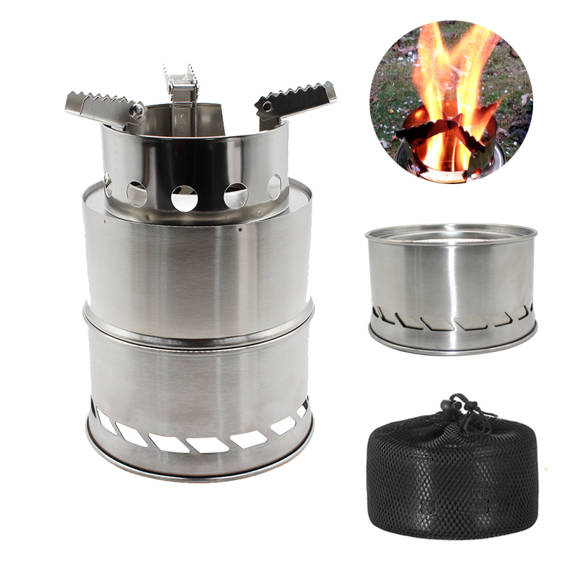 Camping Wood Stove Split Portable Gas Stainless Steel Gas Firewood Fire Wind Screen Shield Kamp Ocak Outdoor Cooking Camping image