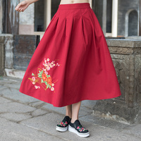 KYQIAO online chinese store original skirts womens autumn spring Mexico style ethnic long blue black red embroidery skirt