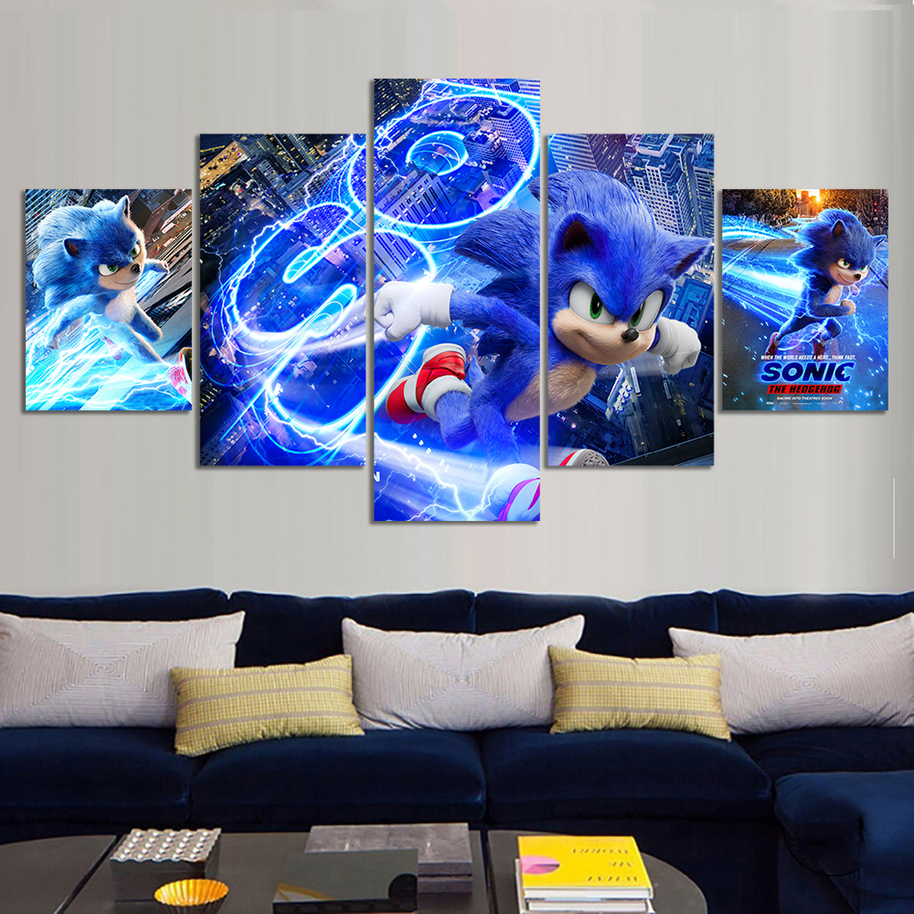 Home Decor Modular Canvas Picture 5 Piece Sonic The Hedgehog Movie Painting Poster Canvas Painting Wholesale Painting Calligraphy Aliexpress