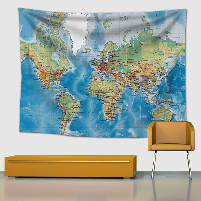 150*200cm World Map Printing Tapestry, Blanket Wall Blanket, Cloth, Hair Towel, Home Hanging Painting, Decorating Table Cloth