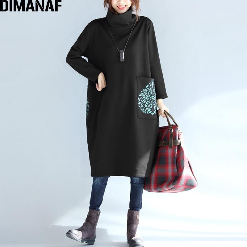 DIMANAF Plus Größe Frauen Kleid Winter Rollkragen Baumwolle Dicke Dame Vestidos Weibliche Kleidung Lose Große Größe Langarm Kleid Schwarz