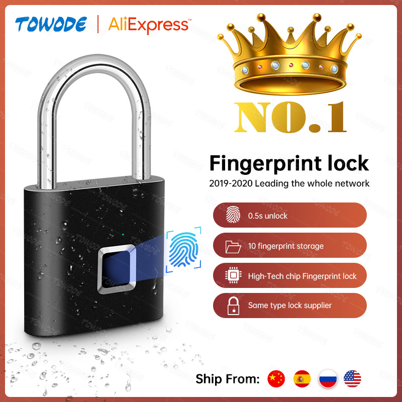 Towode 1/2Pcs Keyless USB Rechargeable Door Lock Fingerprint Smart Padlock Quick Unlock Zinc alloy Metal Self Developing Chip