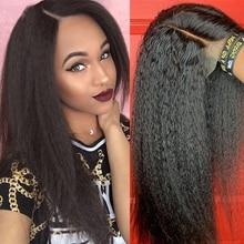 Perruque Lace Frontal Wig naturelle crépue lisse, cheveux humains, 13x6, 13x4, pre-plucked, HD, 34 pouces, 200%