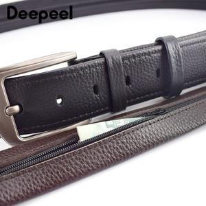 Image 5 - Deepeel 1pc 110 130cm שכבה הראשונה עור פרה גברים חגורת זכר מעצב רוכסן חגורות חידוש יוקרה קישוט החגורה יכול לשים כסף