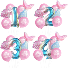 7pcs/lot Mermaid Birthday Party Baby Shower Girl Birthday Balloons for Ballons Decoration Birthday with Kid Party Supplies Decor