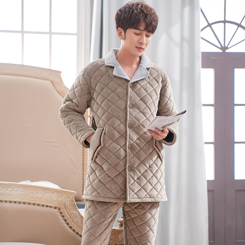Plus Size 3XL Quilted Sleepwear Long Style Winter Warm Flannel Pajama Set Thick Padded Male Pyjamas Coral Fleece Leisure Outwear