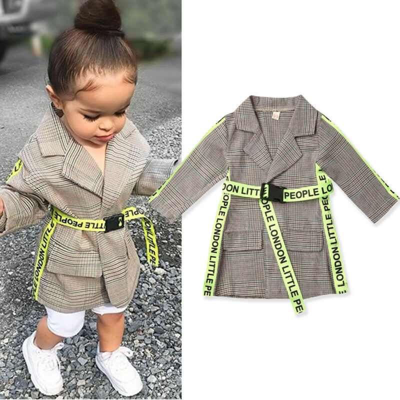 AU Toddler Kids Baby Girl Winter Clothes Belted Coat Jacket Formal Outwear 0-5Y