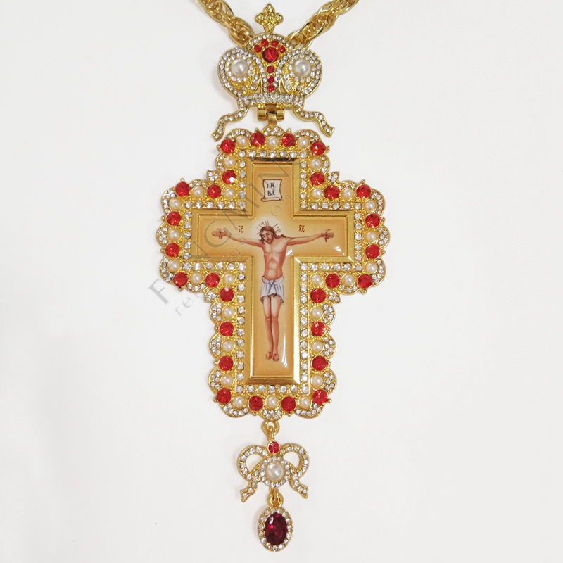 Orthodox Pectoral Cross Necklace Gold Plated Jewelry With Russian Type Enamel Bishop New Encolpion Cross For Bishops