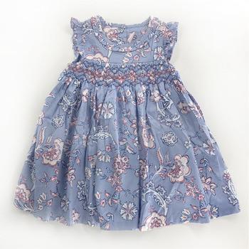 Sweet Little Girls Blue Print Dress Smocked Hand Made Western Fashion Vintage Summer Fly Sleeve Bow Dress
