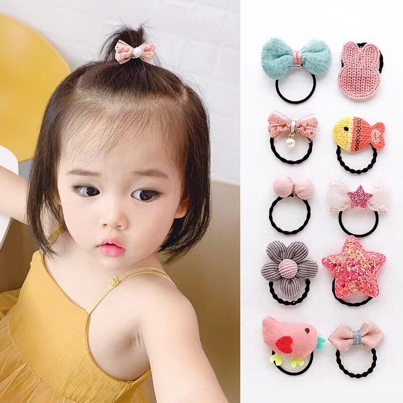 5/10pcs/Pack Kids Hair Ties Ring Rope Animal Scrunchie Toddlers Flower Bows Elastic Hair Band Baby Girls Hair Accessories