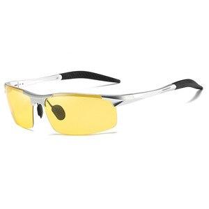 Image 4 - אלומיניום ראיית לילה משקפיים כדי להפחית בוהק עם צהוב מקוטב עדשות לילה משקפיים נהיגה בלילה דיג 5933
