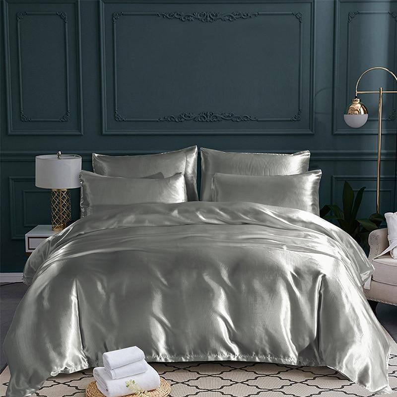 gray white black red comforter bedding sets luxury king double size satin silk summer used single bed set kit duvet cover set