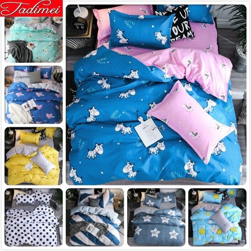 AB Double Side Duvet Cover 3/4 Pcs Bedding Set Adult Kids Soft Cotton Bed Linen Single Full Queen King Size Bedspreads 150x200cm