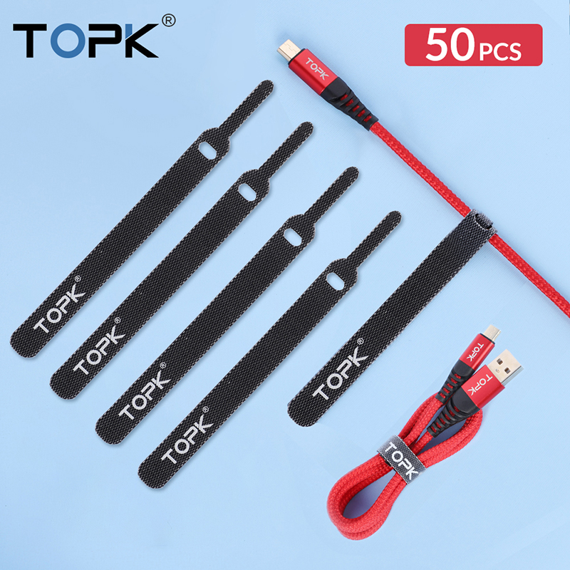 TOPK 14CM Nylon Cable Protector Organizer Wire Winder Earphone Mouse Cord Management for iPhone Samsung Xiaomi USB