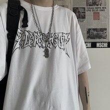 Goth punk impressão preto roupas tamanhos grandes coreano estilo manga curta topo t y2k dropshipping vintage anime harajuku camisetas femininas