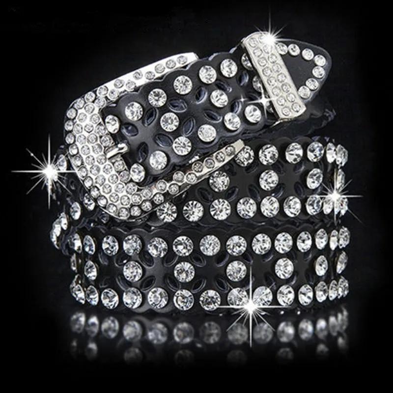Genuine leather belts unisex rhinestone luxury belt men women matel buckle belts boys diamond belts