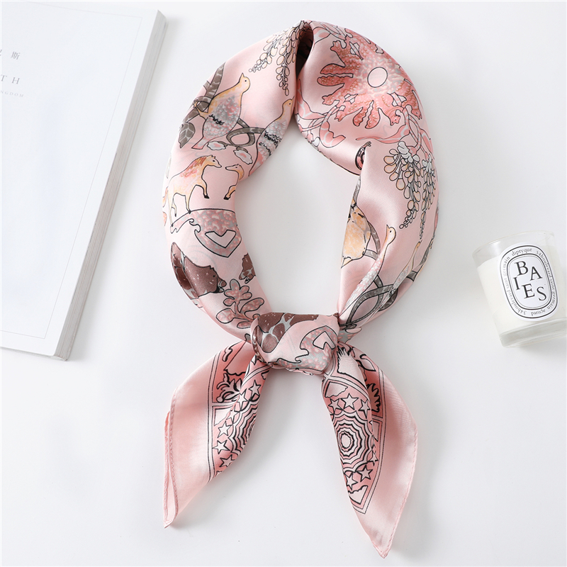 2020 Female Silk Neck Scarf Shawls Head Band Foulard Women Office Neckerchief Animal Design Print Kerchief Spring Scarves