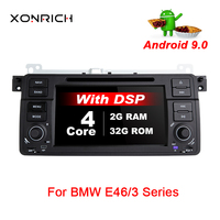 Xonrich 1 Din auto radio Android 9.0 Car DVD Player For BMW E46 M3 318/320/325/330/335 Rover 75 1998 2006 GPS Navigation OBD2