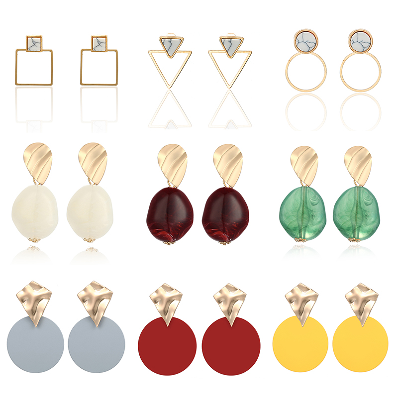 Trendy Black Round Metal Earring For Women Gold Shiny Smooth Long Drop Earrings 2020 Fashion Statement Jewelry Pendientes Bijoux