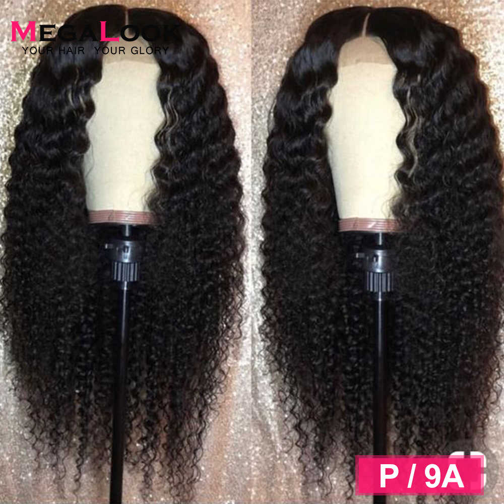 Kinky Curly Human Hair Wig Closure Wigs For Black Women Lace closure Wig Remy 180% Brazilian Wig 4x4 Closure Wig