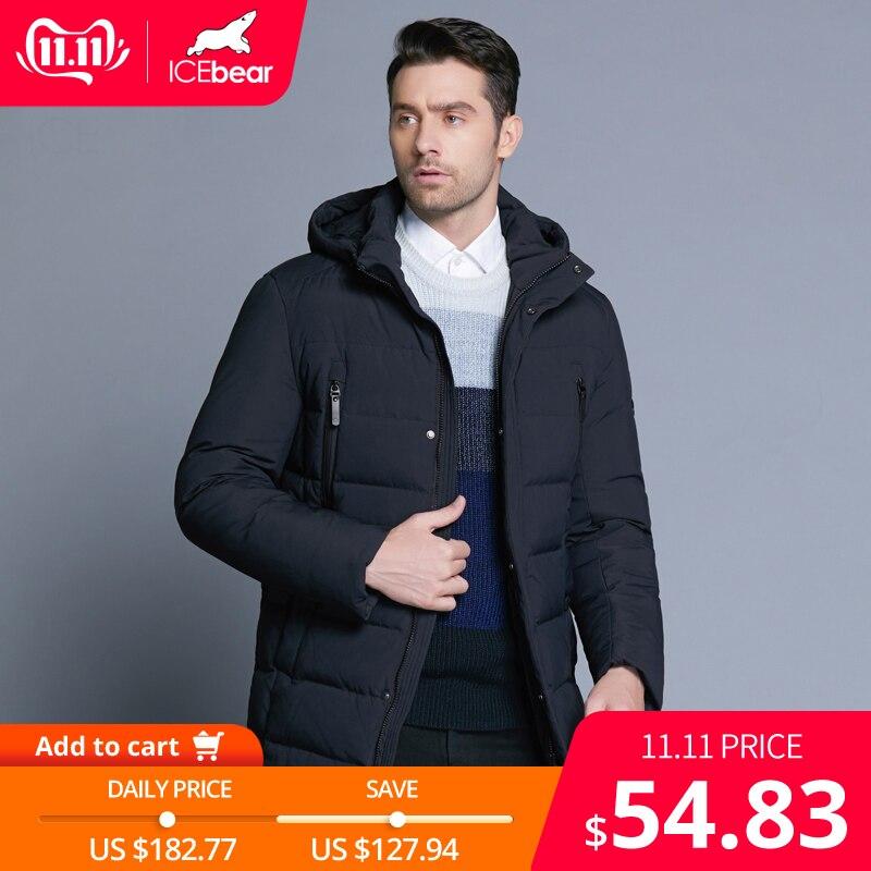 ICEbear 2019 nouveau hiver hommes veste avec tissu de haute qualité amovible chapeau pour mâle chaud manteau simple hommes manteau MWD18945D