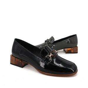 Image 2 - VAIR MUDO/модные женские туфли лодочки; Женские черные туфли из натуральной кожи на толстом каблуке; Сезон весна осень; Женские офисные туфли с круглым носком; 2020
