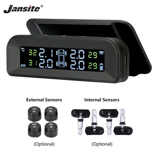 Jansite Tpms Originele Draadloze Hd Solar Auto Bandenspanning Alarm Monitor Systeem Display Turn Op Met De Trillingen Met 4 sensoren