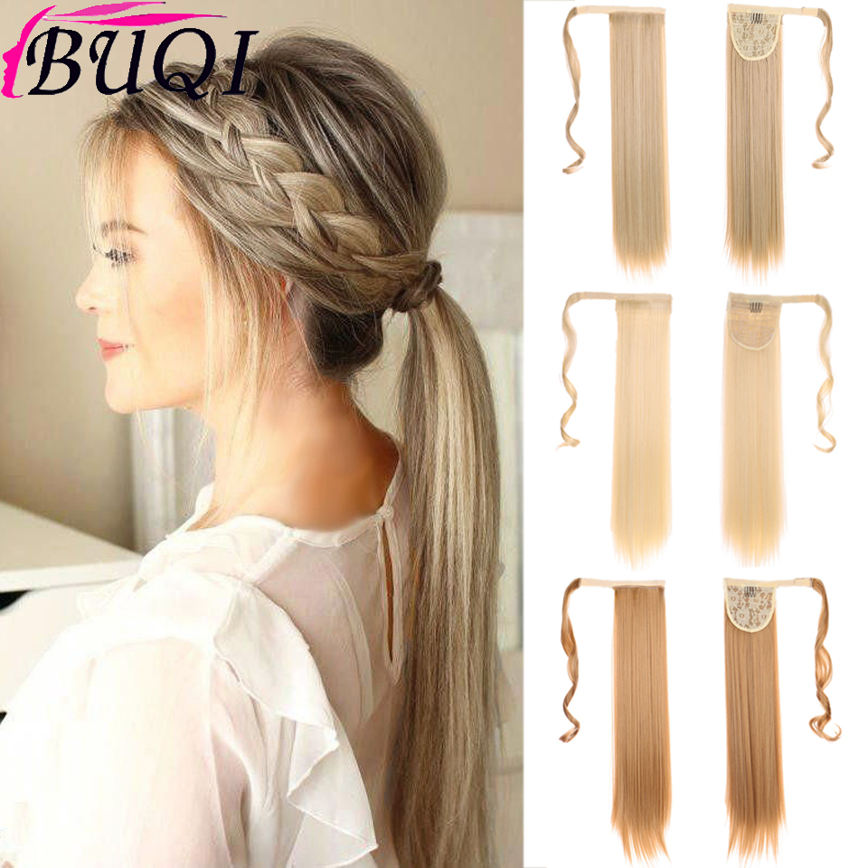 BUQI Blonde Long Wavy Wrap Around Clip In Ponytail Hair Extension Straight Clip In Hair Tail False Hair