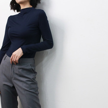 Fall Slim Modal Fit Autumn Casual Basis Long Sleeve Shirt Women Turtleneck T Elegant Solid Color Tops for Wholesale