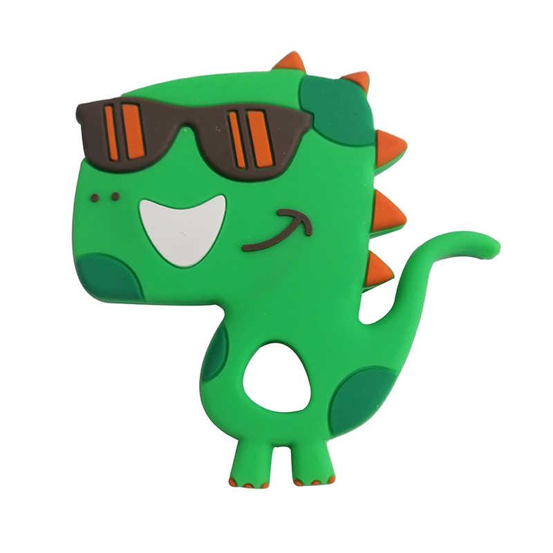 1pc gryzaki dla niemowląt Cartoon dinozaur silikonowy gryzak wisiorek akcesoria naszyjnikowe niemowlę gryzaki DIY