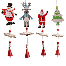 цена Wooden Christmas Tree Decoration Wind Bell String Pendant Cartoon Bell Santa Claus Snowman Elk Home Decoration Pendant в интернет-магазинах