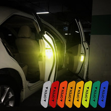 4pcs/lot Universal Fluorescent Car Door Reflective Strips Warning Sticker Night Driving Safety Mark Reflective Tapes Car Styling