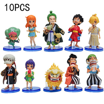 10pcs One Piece Figure Luffy Figurine Zoro Nami Usopp Sanji Chopper Robin PVC Action Figure Franky Brook Model Toy Gift for Kids недорого