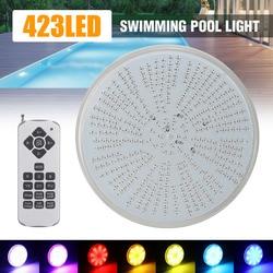 Светодиодная лампа для бассейна 423 светодиода AC/DC12V RGB сменная лампа PAR56 Водонепроницаемая IP68 многоцветная 2 м Проводная подводная лампа