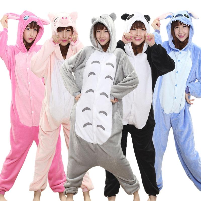 Totoro Kigurumi Onesie Adult  Animal Unicorn Pajamas Suit Warm Soft Stitch Sleepwear Onepiece Winter Jumpsuit Pijama Cosplay