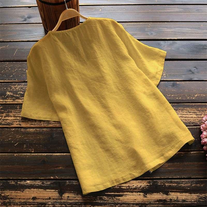 Zanzea verão vintageblouses feminino manga curta camisa