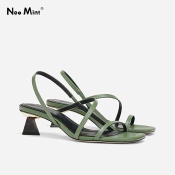 цена Geometric Heel Cross-tie Slipper Sandals Slip on Narrow Band High Heel Sandals Women Open Toe Summer Sandals онлайн в 2017 году