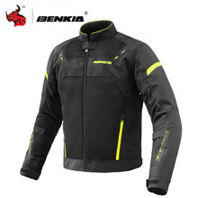 BENKIA Motorcycle Jacket Men Summer Breathable Mesh Motocross Off-Road Racing Protective Gear Protection S-5XL
