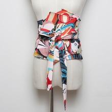 цена на Printed Cummerbund Women Fashion Bandage Bow Tie Wide Belts for Women Dress Self Tie Corset Bow Strap Ladies Japanese Belt
