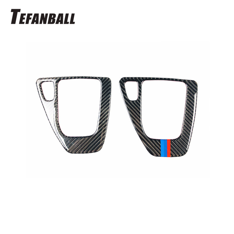 For BMW 3 Series E90 E92 E93 2005-2012 Carbon Fiber Gear Shift Box Panel Cover Car Styling Shift Control Sticker Car Accessories