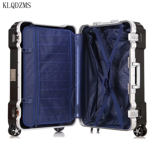 "KLQDZMS KLQDZMS 20""24""29inch aluminum frame rolling luggage spinner on wheel men women carry on travel suitcase trolley bag 5"