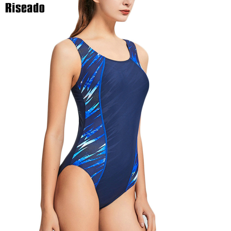 Riseado New Patchwork One Piece Swimsuit Sport Competitive Swimwear Women Racer Back Bathing Suit Women 2020 Swimming Suit(China)