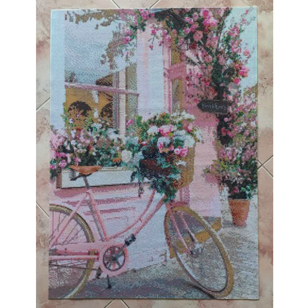 Evershine Diamond Painting Bicycle Full Square Diamond Embroidery Flower Pink Cross Stitch Mosaic Crafts Kit Home Decoration-4