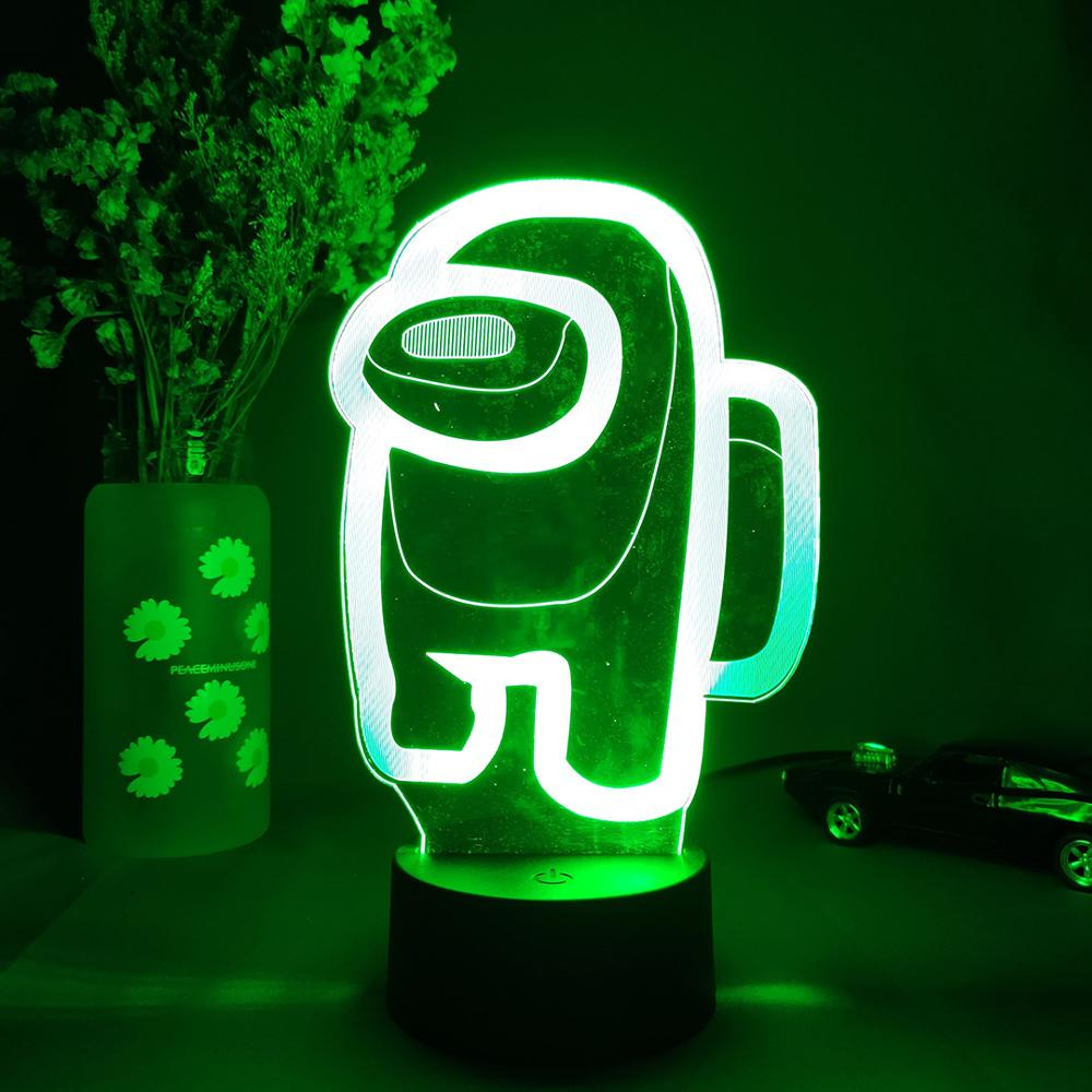 green Among Us 3D Crewmate Led Light Imposter Crewmate LED Lamp