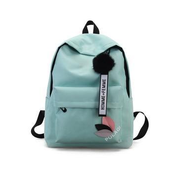 2020 Solid backpack girl school bags for teenage College wind Women SchoolBag High student bag black nylon printing - Sky Blue, China
