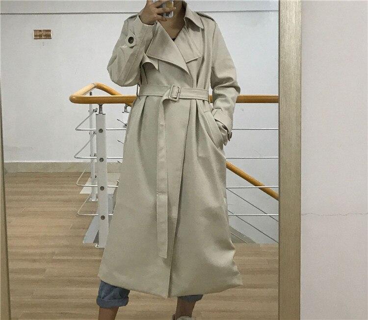 Spring Autumn Maxi Long Women's Loose Trench Coat With Belt Khaki & Black Plus Size Korean Style Windbreaker Outwear 24
